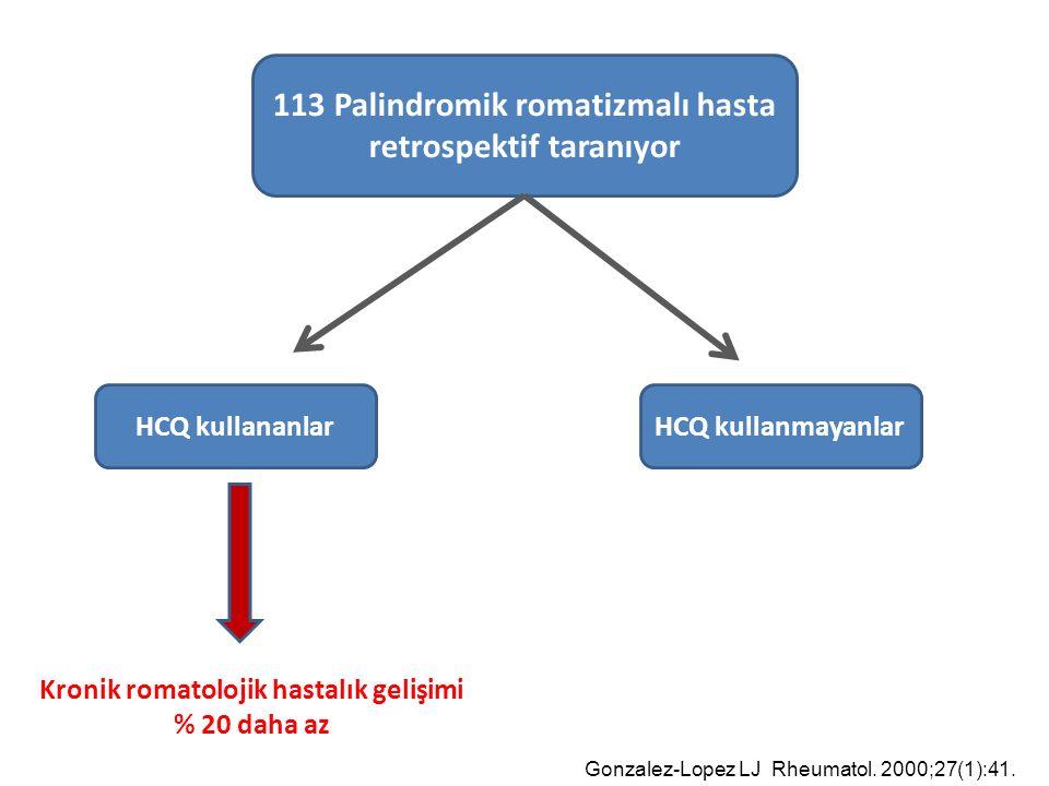 113 Palindromik romatizmalı hasta retrospektif taranıyor HCQ kullananlarHCQ kullanmayanlar Kronik romatolojik hastalık gelişimi % 20 daha az Gonzalez-