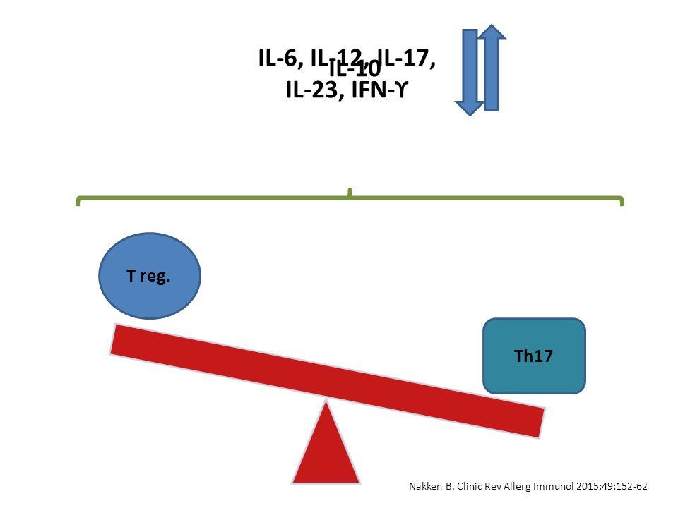 T reg. Th17 IL-6, IL-12, IL-17, IL-23, IFN-ϒ IL-10 Nakken B. Clinic Rev Allerg Immunol 2015;49:152-62