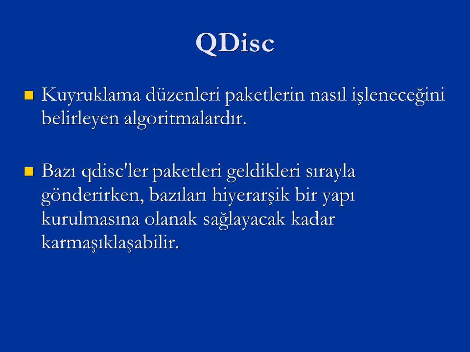 QDisc Kuyruklama düzenleri paketlerin nasıl işleneceğini belirleyen algoritmalardır.