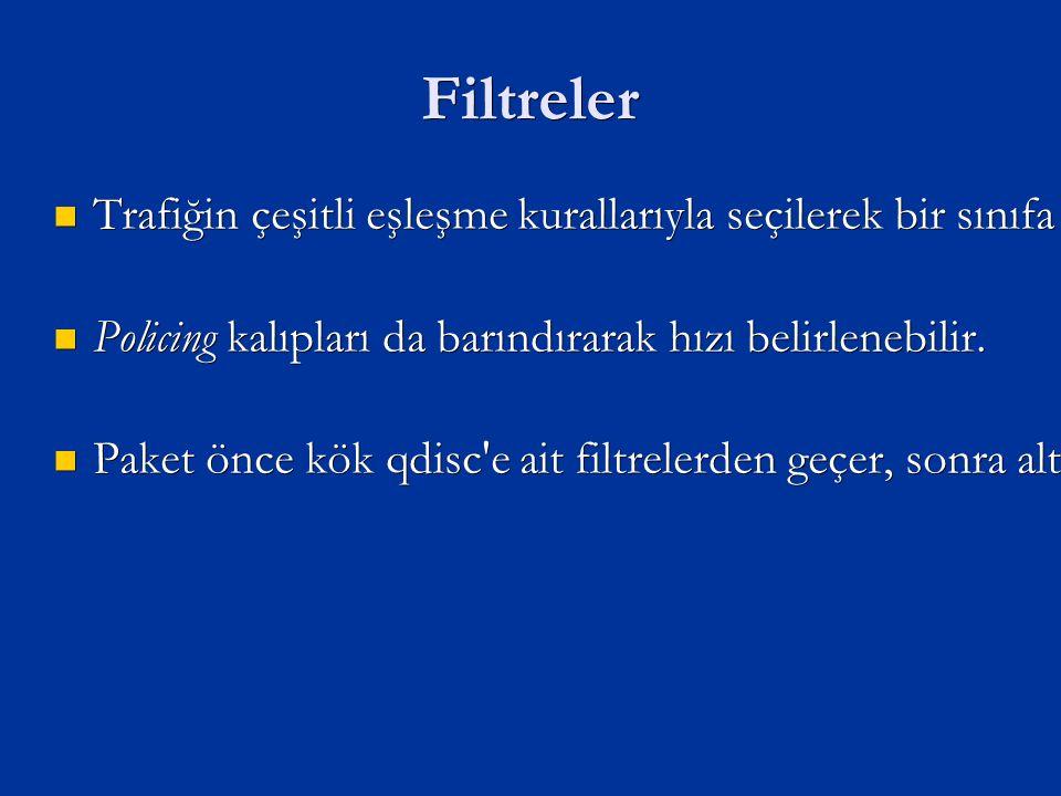 Filtreler Trafiğin çeşitli eşleşme kurallarıyla seçilerek bir sınıfa yönlendirilmesini sağlar.