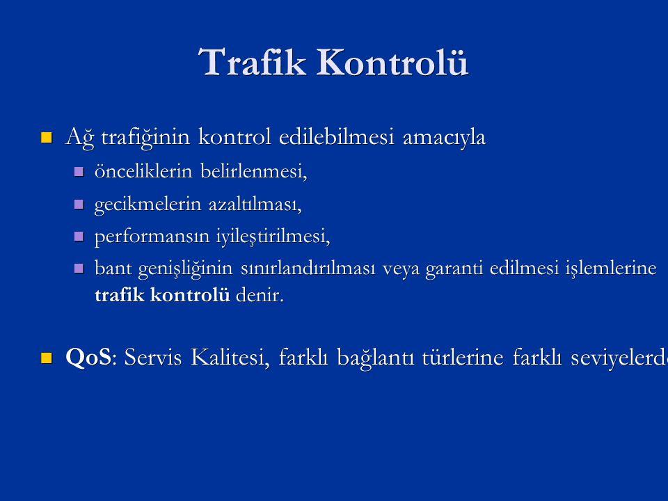 Trafik Kontrolü Ağ trafiğinin kontrol edilebilmesi amacıyla Ağ trafiğinin kontrol edilebilmesi amacıyla önceliklerin belirlenmesi, önceliklerin belirlenmesi, gecikmelerin azaltılması, gecikmelerin azaltılması, performansın iyileştirilmesi, performansın iyileştirilmesi, bant genişliğinin sınırlandırılması veya garanti edilmesi işlemlerine trafik kontrolü denir.
