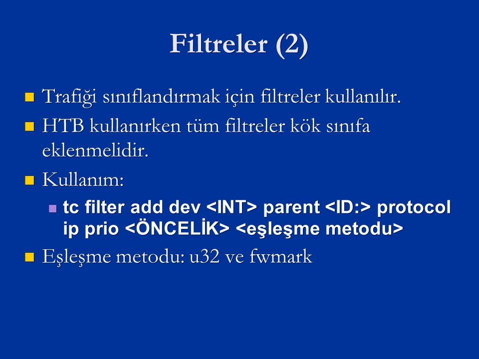 Filtreler (2) Trafiği sınıflandırmak için filtreler kullanılır.