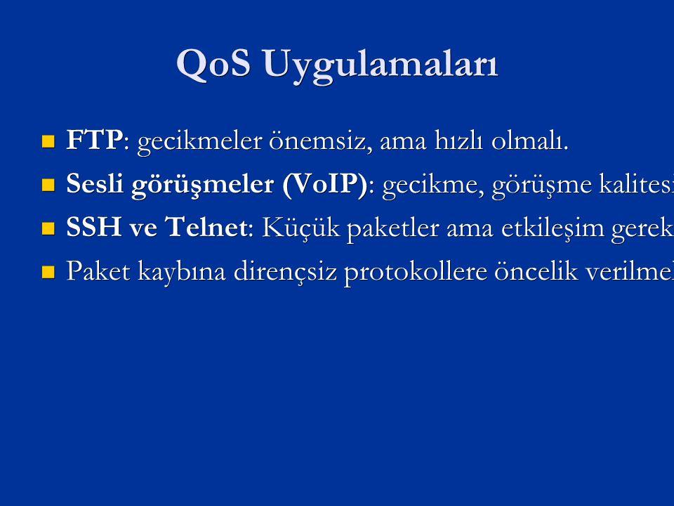 QoS Uygulamaları FTP: gecikmeler önemsiz, ama hızlı olmalı.