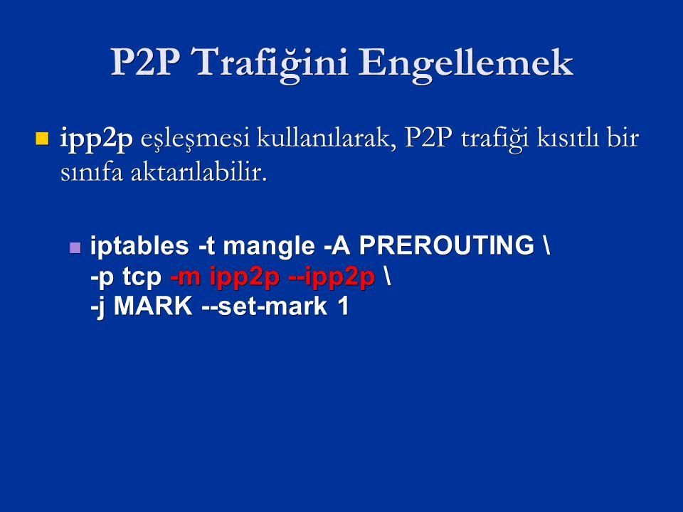P2P Trafiğini Engellemek ipp2p eşleşmesi kullanılarak, P2P trafiği kısıtlı bir sınıfa aktarılabilir.