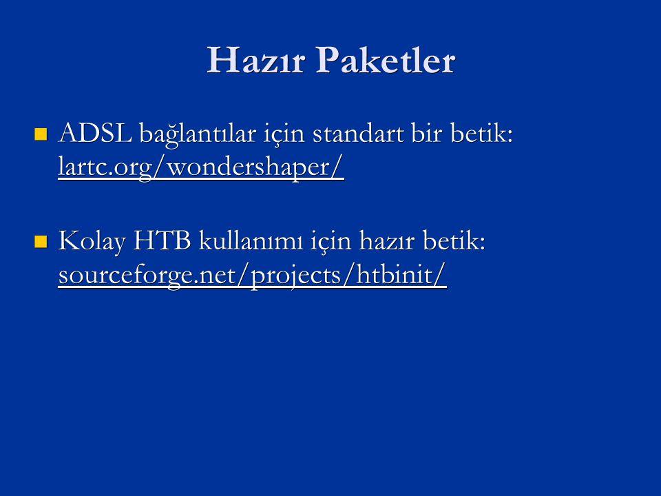 Hazır Paketler ADSL bağlantılar için standart bir betik: lartc.org/wondershaper/ ADSL bağlantılar için standart bir betik: lartc.org/wondershaper/ Kolay HTB kullanımı için hazır betik: sourceforge.net/projects/htbinit/ Kolay HTB kullanımı için hazır betik: sourceforge.net/projects/htbinit/