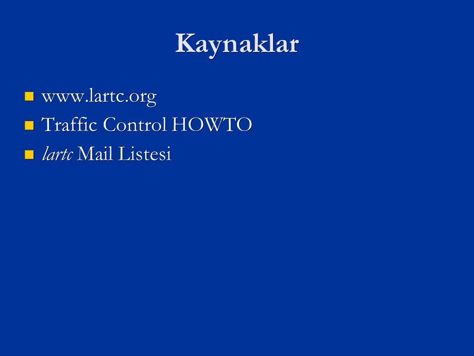 Kaynaklar www.lartc.org www.lartc.org Traffic Control HOWTO Traffic Control HOWTO lartc Mail Listesi lartc Mail Listesi