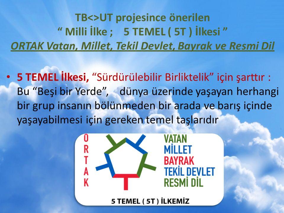 TB<>UT projesince önerilen Milli İlke ; 5 TEMEL ( 5T ) İlkesi ORTAK Vatan, Millet, Tekil Devlet, Bayrak ve Resmi Dil 5 TEMEL İlkesi, Sürdürülebilir Birliktelik için şarttır : Bu Beşi bir Yerde , dünya üzerinde yaşayan herhangi bir grup insanın bölünmeden bir arada ve barış içinde yaşayabilmesi için gereken temel taşlarıdır