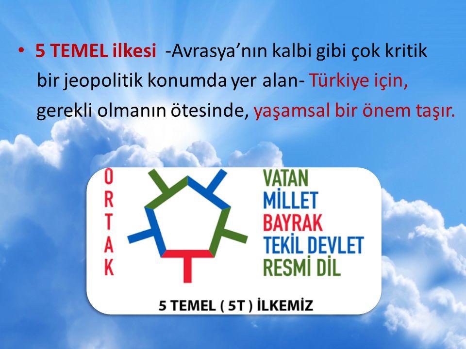 5 TEMEL ilkesi -Avrasya'nın kalbi gibi çok kritik bir jeopolitik konumda yer alan- Türkiye için, gerekli olmanın ötesinde, yaşamsal bir önem taşır.