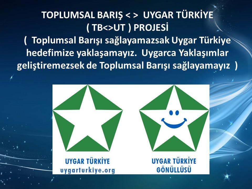 TOPLUMSAL BARIŞ UYGAR TÜRKİYE ( TB<>UT ) PROJESİ ( Toplumsal Barışı sağlayamazsak Uygar Türkiye hedefimize yaklaşamayız.