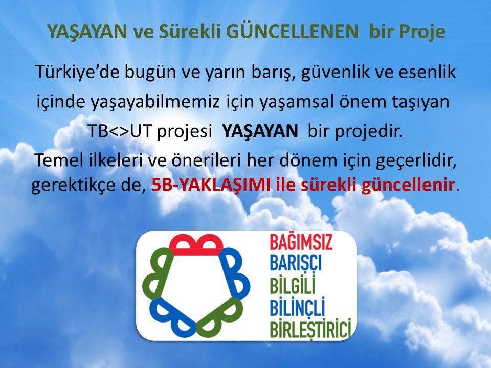 YAŞAYAN ve Sürekli GÜNCELLENEN bir Proje Türkiye'de bugün ve yarın barış, güvenlik ve esenlik içinde yaşayabilmemiz için yaşamsal önem taşıyan TB<>UT projesi YAŞAYAN bir projedir.