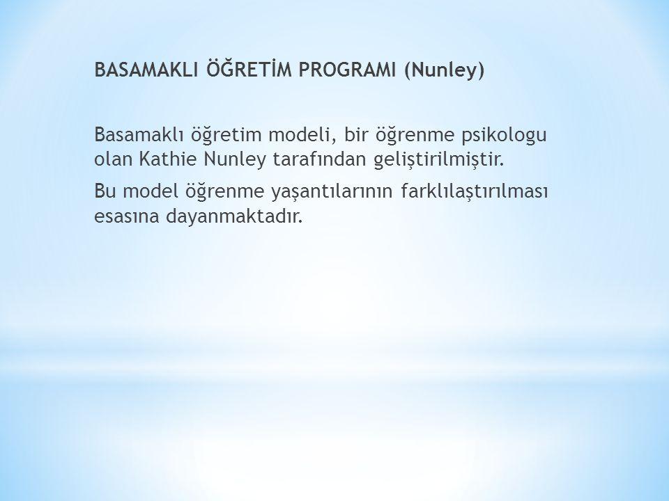 BASAMAKLI ÖĞRETİM PROGRAMI (Nunley) Basamaklı öğretim modeli, bir öğrenme psikologu olan Kathie Nunley tarafından geliştirilmiştir.