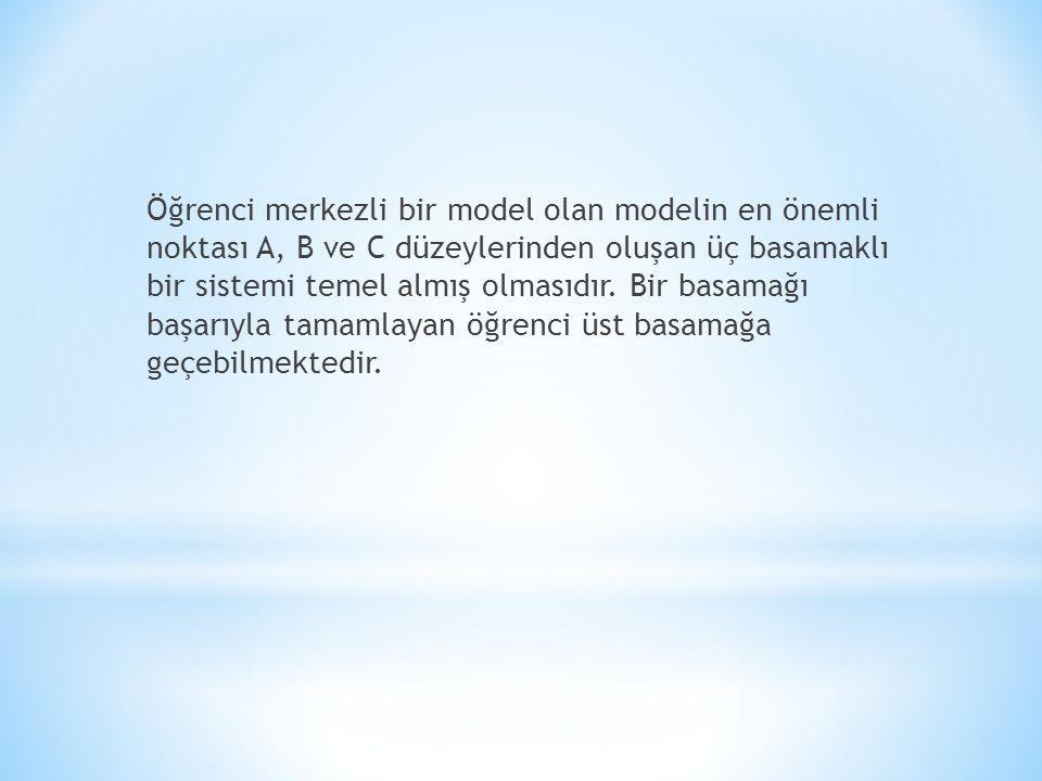 Öğrenci merkezli bir model olan modelin en önemli noktası A, B ve C düzeylerinden oluşan üç basamaklı bir sistemi temel almış olmasıdır.