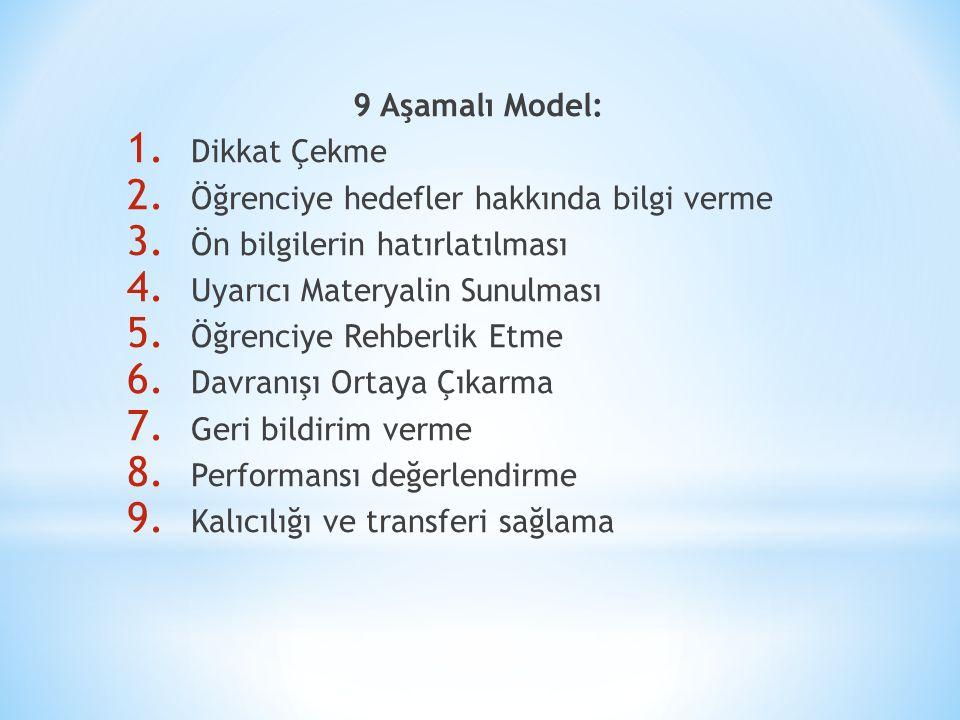 9 Aşamalı Model: 1. Dikkat Çekme 2. Öğrenciye hedefler hakkında bilgi verme 3.
