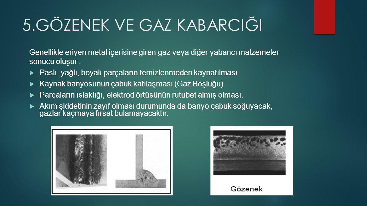 5.GÖZENEK VE GAZ KABARCIĞI Genellikle eriyen metal içerisine giren gaz veya diğer yabancı malzemeler sonucu oluşur.