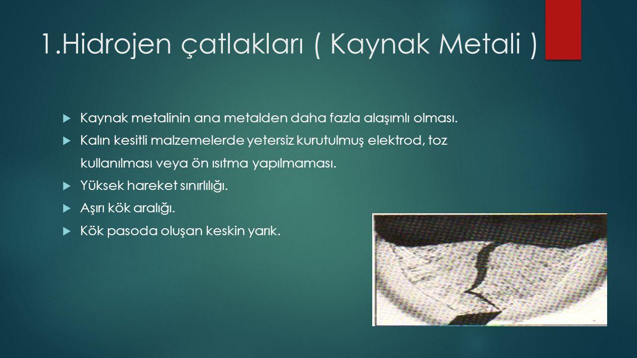 1.Hidrojen çatlakları ( Kaynak Metali )  Kaynak metalinin ana metalden daha fazla alaşımlı olması.