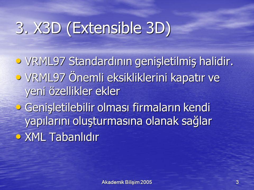 Akademik Bilişim 20053 3. X3D (Extensible 3D) VRML97 Standardının genişletilmiş halidir.