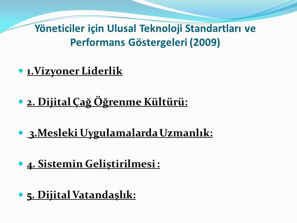 Yöneticiler için Ulusal Teknoloji Standartları ve Performans Göstergeleri (2009) 1.Vizyoner Liderlik 2.