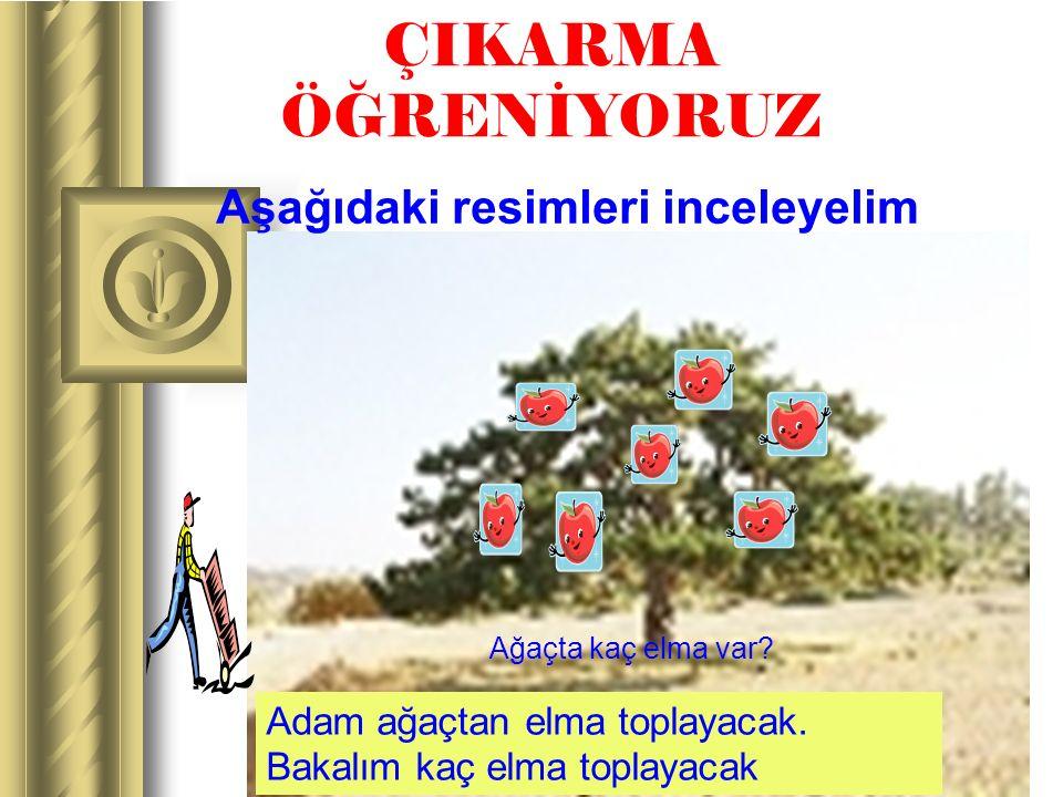 www.ogretmenevi.net ÇIKARMA ÖĞRENİYORUZ Aşağıdaki resimleri inceleyelim Ağaçta kaç elma var? Adam ağaçtan elma toplayacak. Bakalım kaç elma toplayacak