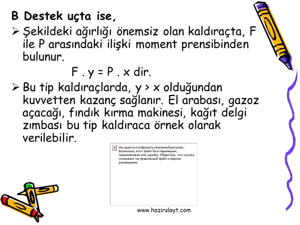 www.hazirslayt.com B Destek uçta ise,  Şekildeki ağırlığı önemsiz olan kaldıraçta, F ile P arasındaki ilişki moment prensibinden bulunur.