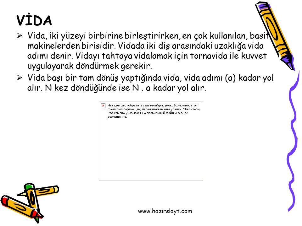 www.hazirslayt.com VİDA  Vida, iki yüzeyi birbirine birleştirirken, en çok kullanılan, basit makinelerden birisidir.