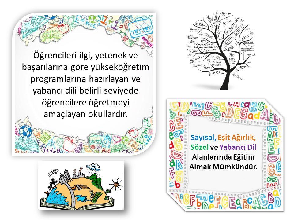 Sayısal, Eşit Ağırlık, Sözel ve Yabancı Dil Alanlarında Eğitim Almak Mümkündür.