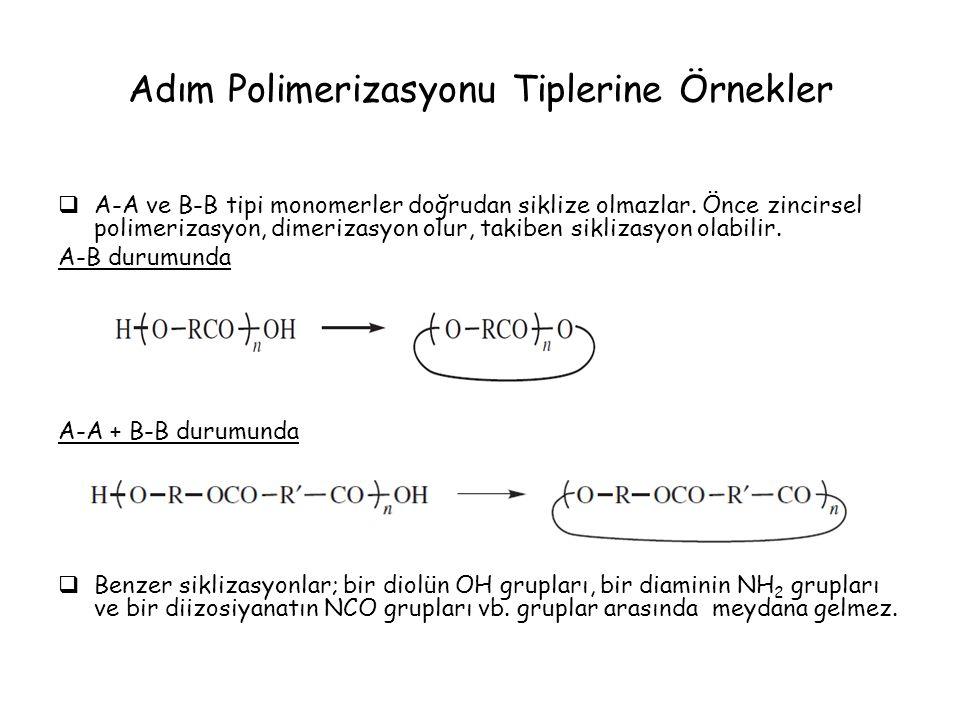 Adım Polimerizasyonu Tiplerine Örnekler  A-A ve B-B tipi monomerler doğrudan siklize olmazlar. Önce zincirsel polimerizasyon, dimerizasyon olur, taki