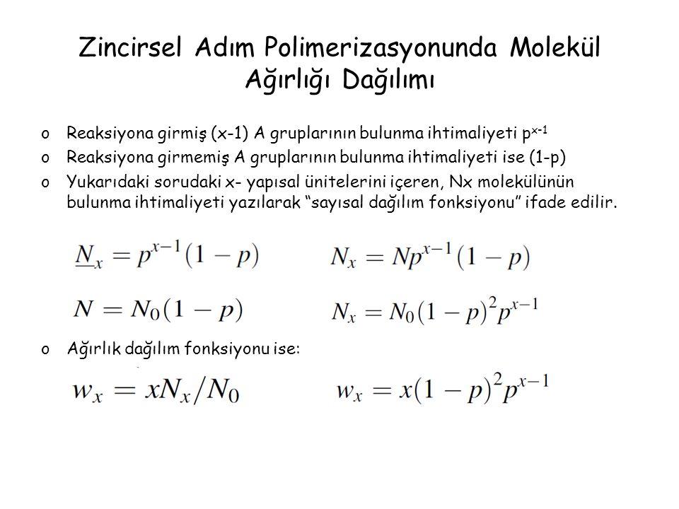 Zincirsel Adım Polimerizasyonunda Molekül Ağırlığı Dağılımı oReaksiyona girmiş (x-1) A gruplarının bulunma ihtimaliyeti p x-1 oReaksiyona girmemiş A g
