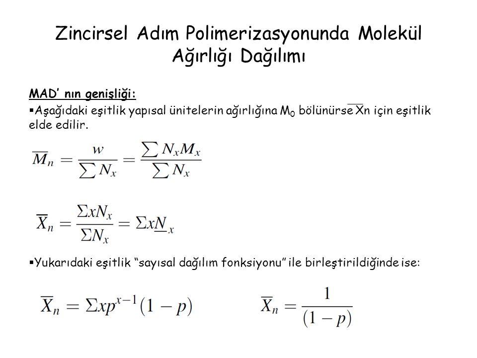 Zincirsel Adım Polimerizasyonunda Molekül Ağırlığı Dağılımı MAD' nın genişliği:  Aşağıdaki eşitlik yapısal ünitelerin ağırlığına M 0 bölünürse Xn içi