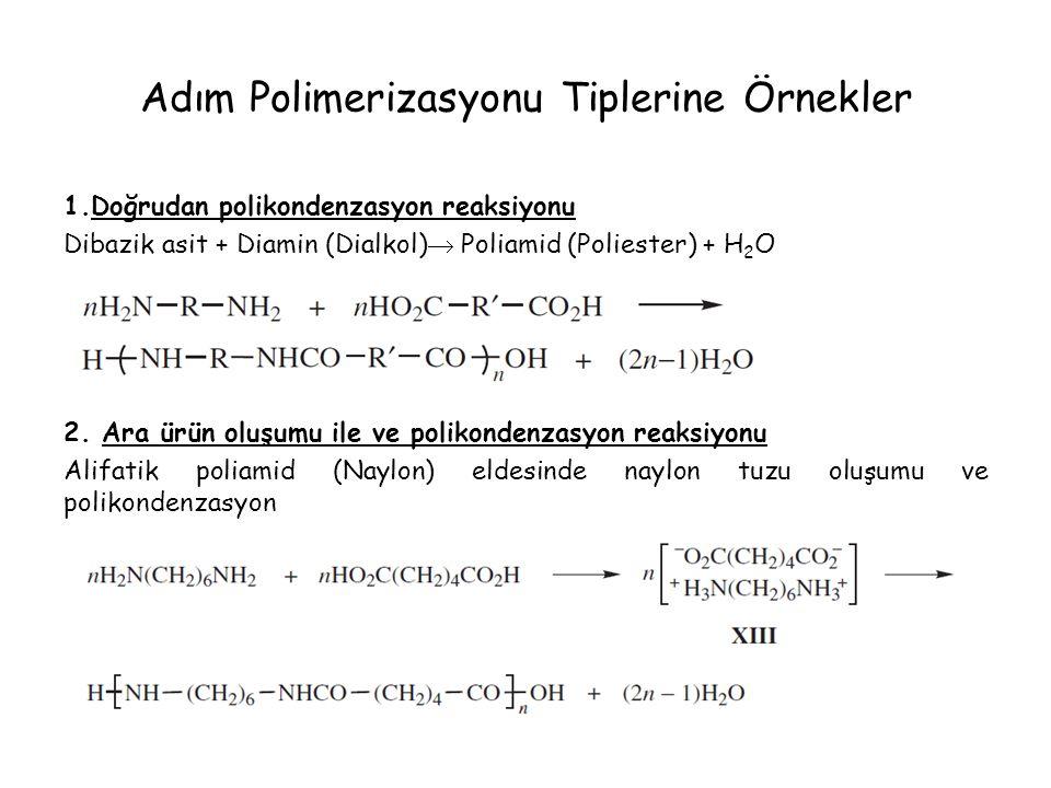 Adım Polimerizasyonu Tiplerine Örnekler 1.Doğrudan polikondenzasyon reaksiyonu Dibazik asit + Diamin (Dialkol)  Poliamid (Poliester) + H 2 O 2. Ara ü