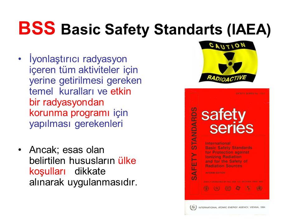 BSS Basic Safety Standarts (IAEA) İyonlaştırıcı radyasyon içeren tüm aktiviteler için yerine getirilmesi gereken temel kuralları ve etkin bir radyasyondan korunma programı için yapılması gerekenleri Ancak; esas olan belirtilen hususların ülke koşulları dikkate alınarak uygulanmasıdır.