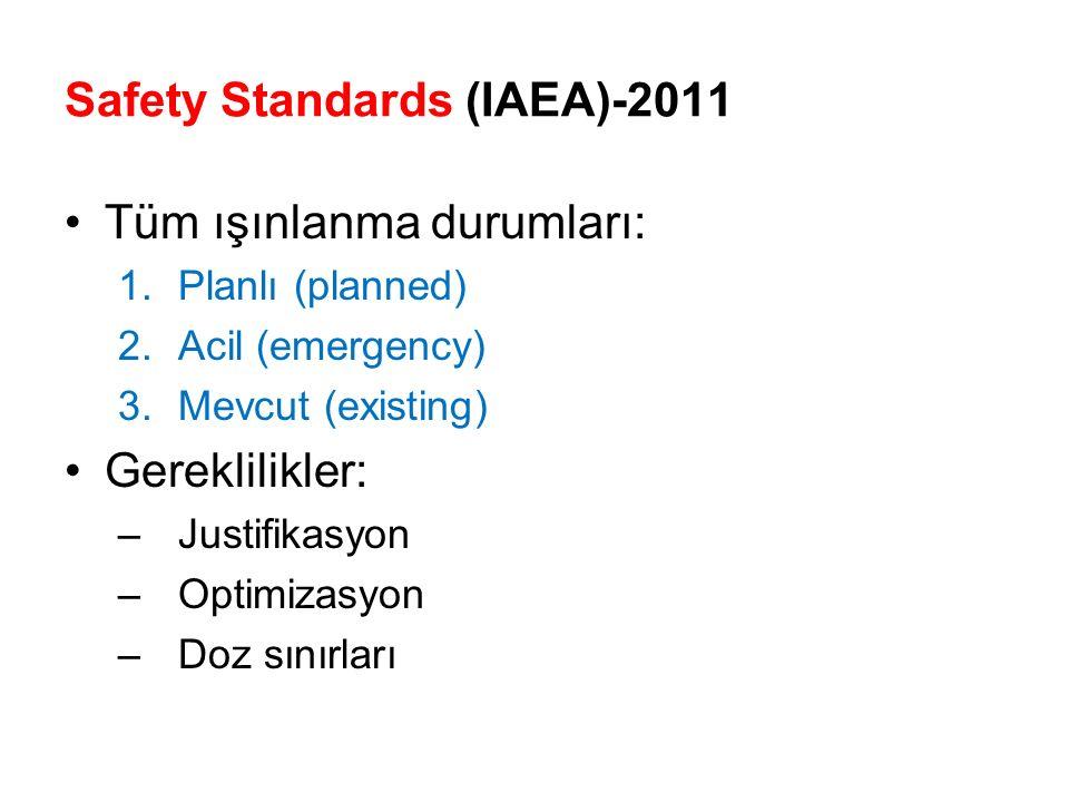 Tüm ışınlanma durumları: 1.Planlı (planned) 2.Acil (emergency) 3.Mevcut (existing) Gereklilikler: –Justifikasyon –Optimizasyon –Doz sınırları