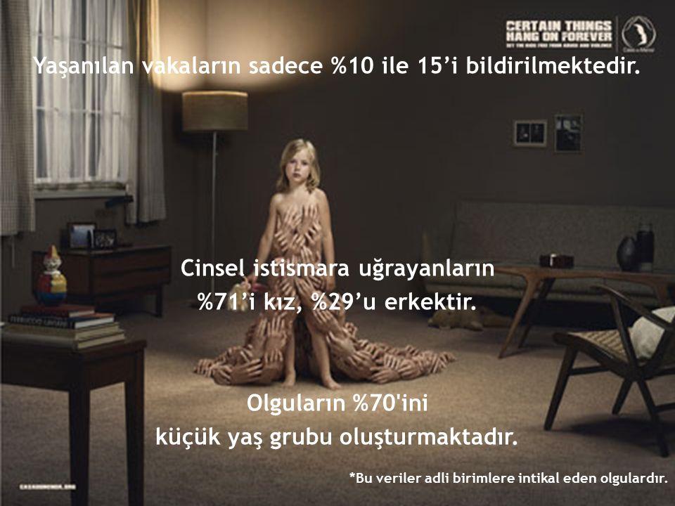 Yaşanılan vakaların sadece %10 ile 15'i bildirilmektedir. Cinsel istismara uğrayanların %71'i kız, %29'u erkektir. Olguların %70'ini küçük yaş grubu o