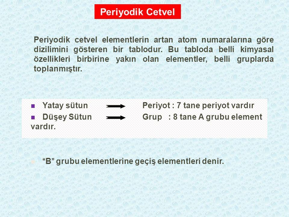"""Yatay sütun Periyot : 7 tane periyot vardır Düşey Sütun Grup : 8 tane A grubu element vardır. """"B"""" grubu elementlerine geçiş elementleri denir. Periyod"""