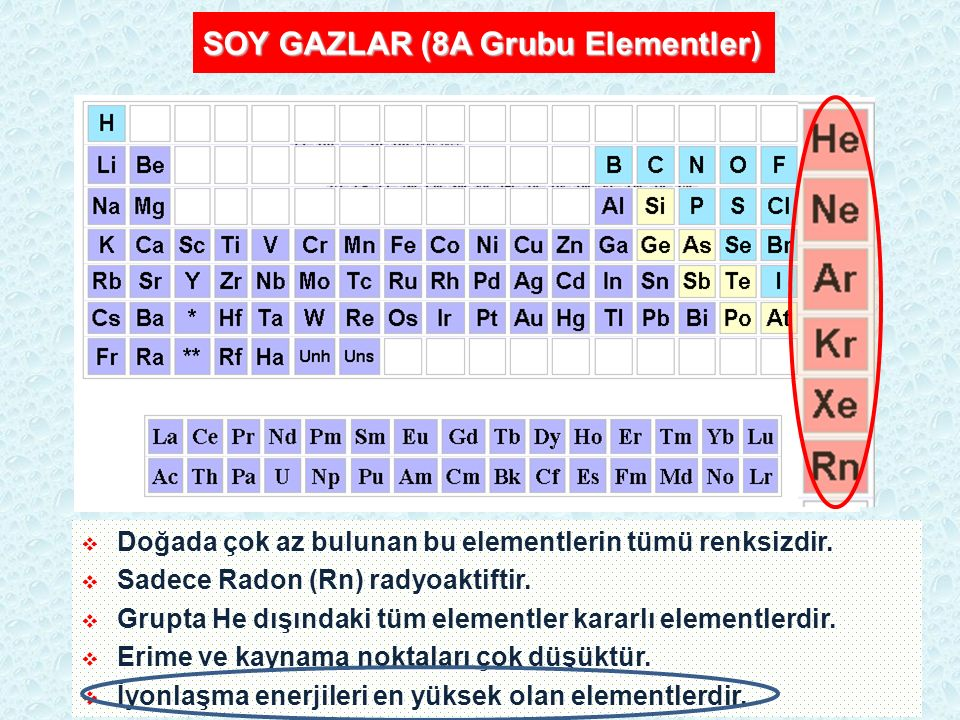 SOY GAZLAR (8A Grubu Elementler)  Doğada çok az bulunan bu elementlerin tümü renksizdir.  Sadece Radon (Rn) radyoaktiftir.  Grupta He dışındaki tüm