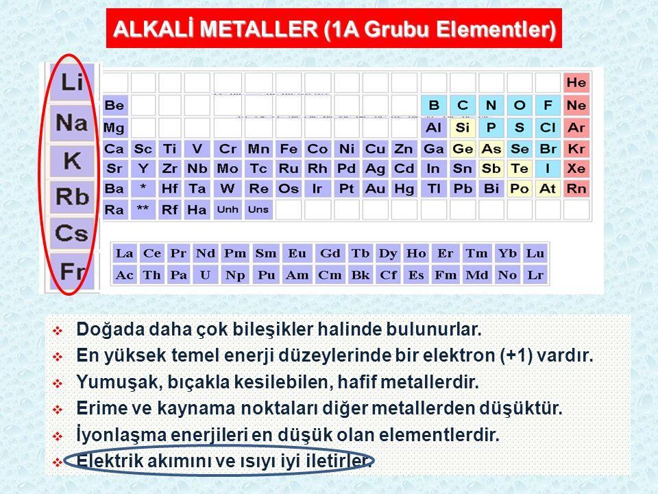ALKALİ METALLER (1A Grubu Elementler)  Doğada daha çok bileşikler halinde bulunurlar.  En yüksek temel enerji düzeylerinde bir elektron (+1) vardır.
