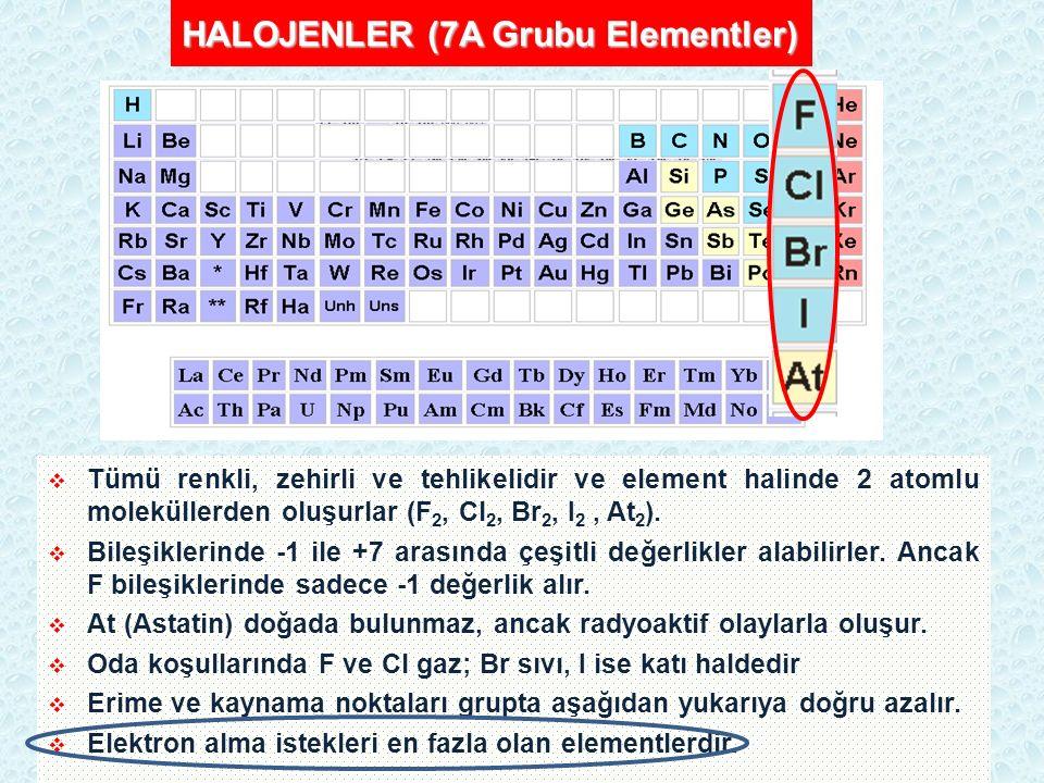 HALOJENLER (7A Grubu Elementler)  Tümü renkli, zehirli ve tehlikelidir ve element halinde 2 atomlu moleküllerden oluşurlar (F 2, Cl 2, Br 2, I 2, At