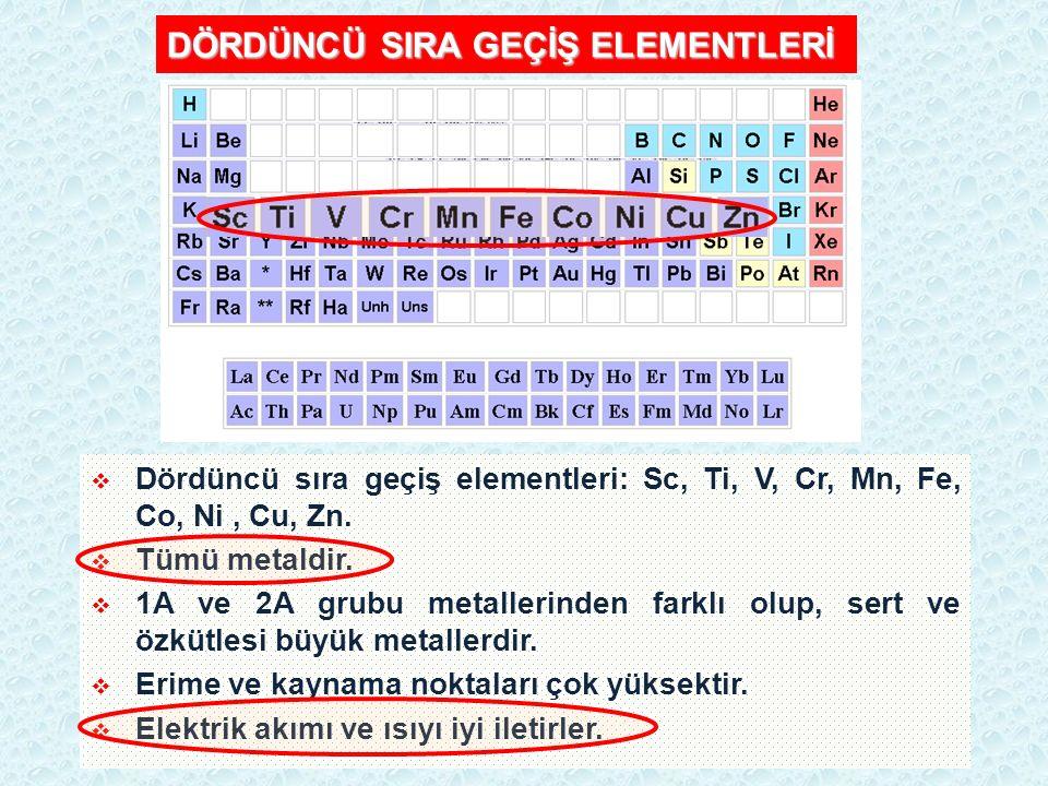 DÖRDÜNCÜ SIRA GEÇİŞ ELEMENTLERİ  Dördüncü sıra geçiş elementleri: Sc, Ti, V, Cr, Mn, Fe, Co, Ni, Cu, Zn.  Tümü metaldir.  1A ve 2A grubu metallerin