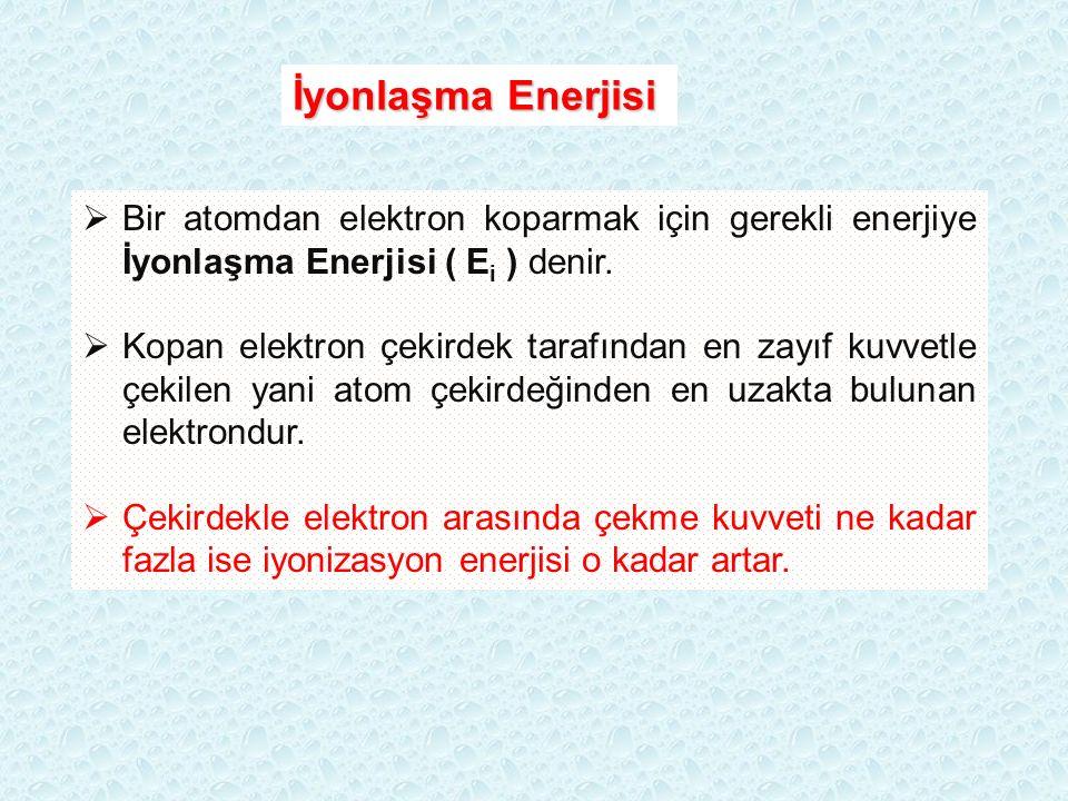 İyonlaşma Enerjisi  Bir atomdan elektron koparmak için gerekli enerjiye İyonlaşma Enerjisi ( E i ) denir.  Kopan elektron çekirdek tarafından en zay