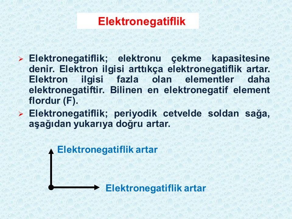 Elektronegatiflik  Elektronegatiflik; elektronu çekme kapasitesine denir. Elektron ilgisi arttıkça elektronegatiflik artar. Elektron ilgisi fazla ola