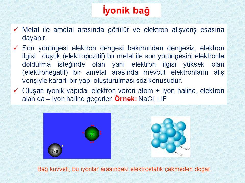İyonik bağ Metal ile ametal arasında görülür ve elektron alışveriş esasına dayanır. Son yörüngesi elektron dengesi bakımından dengesiz, elektron ilgis