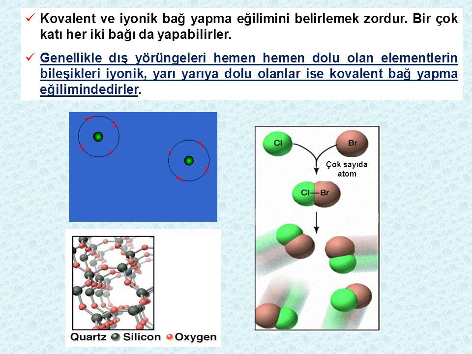 Çok sayıda atom Kovalent ve iyonik bağ yapma eğilimini belirlemek zordur. Bir çok katı her iki bağı da yapabilirler. Genellikle dış yörüngeleri hemen
