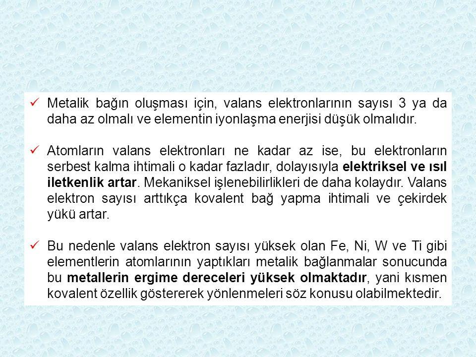 Metalik bağın oluşması için, valans elektronlarının sayısı 3 ya da daha az olmalı ve elementin iyonlaşma enerjisi düşük olmalıdır. Atomların valans el