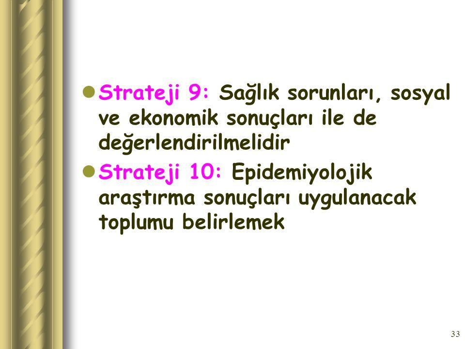 33 Strateji 9: Sağlık sorunları, sosyal ve ekonomik sonuçları ile de değerlendirilmelidir Strateji 10: Epidemiyolojik araştırma sonuçları uygulanacak