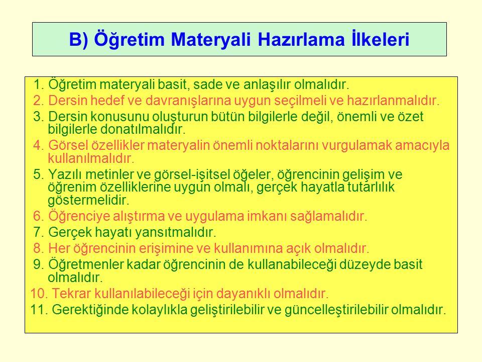 B) Öğretim Materyali Hazırlama İlkeleri 1. Öğretim materyali basit, sade ve anlaşılır olmalıdır.
