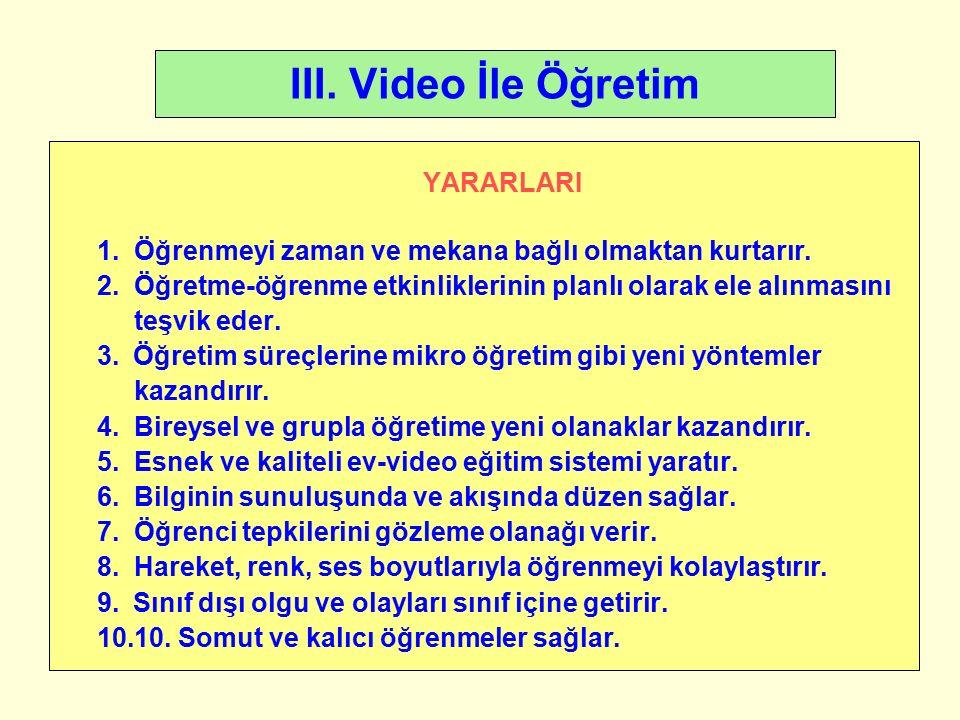 III. Video İle Öğretim YARARLARI 1. Öğrenmeyi zaman ve mekana bağlı olmaktan kurtarır.