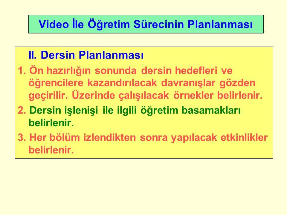 Video İle Öğretim Sürecinin Planlanması II. Dersin Planlanması 1.