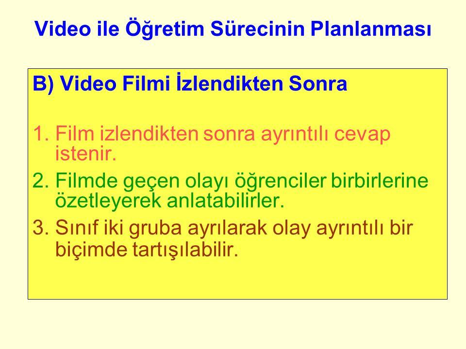 Video ile Öğretim Sürecinin Planlanması B) Video Filmi İzlendikten Sonra 1.Film izlendikten sonra ayrıntılı cevap istenir.
