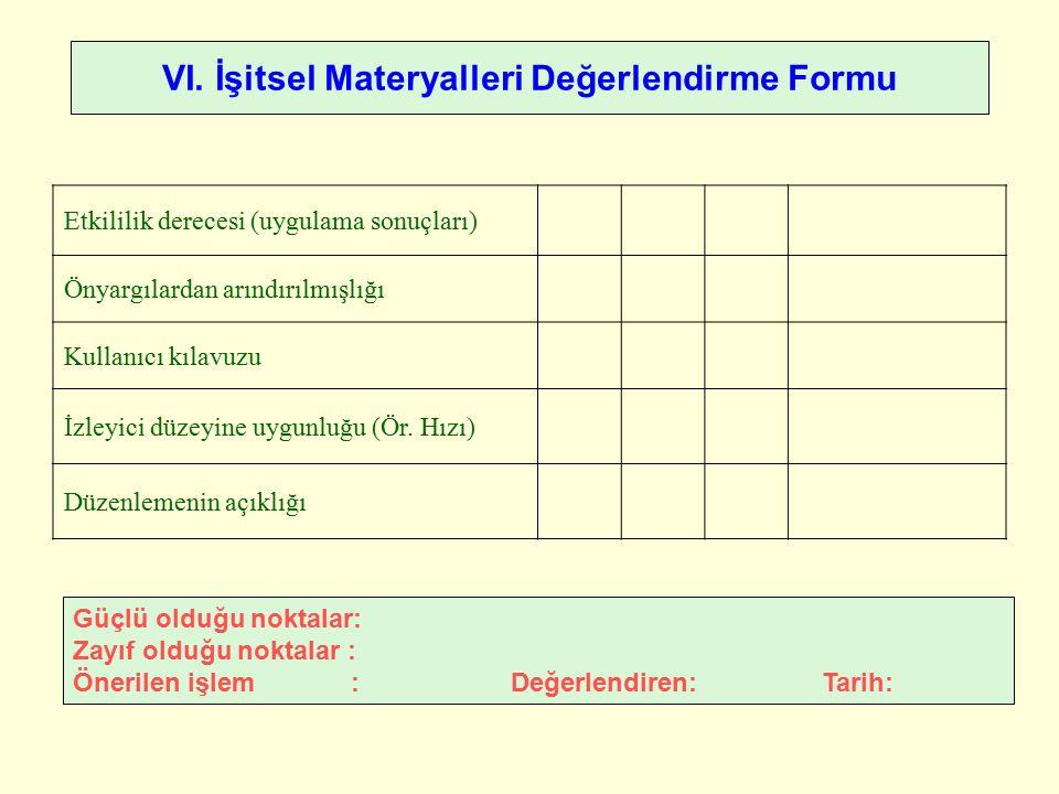 VI. İşitsel Materyalleri Değerlendirme Formu Güçlü olduğu noktalar: Zayıf olduğu noktalar : Önerilen işlem : Değerlendiren: Tarih: Etkililik derecesi