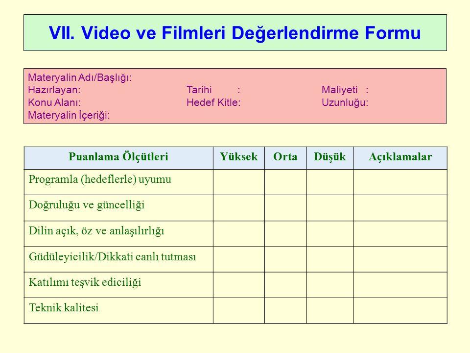 VII. Video ve Filmleri Değerlendirme Formu Materyalin Adı/Başlığı: Hazırlayan: Tarihi : Maliyeti : Konu Alanı: Hedef Kitle: Uzunluğu: Materyalin İçeri