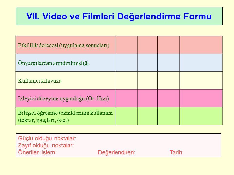 VII. Video ve Filmleri Değerlendirme Formu Güçlü olduğu noktalar: Zayıf olduğu noktalar: Önerilen işlem: Değerlendiren: Tarih: Etkililik derecesi (uyg